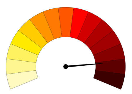 A yellow to red gauge isolated on a white background Illustration