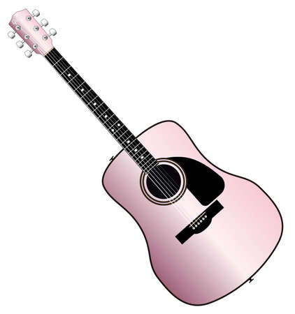 A typical acoustic guitar in pink isolated over a white backdrop. Illustration