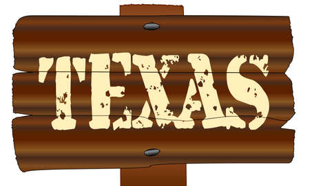 A wooden sign with the words Texas isolated over a white background Illustration