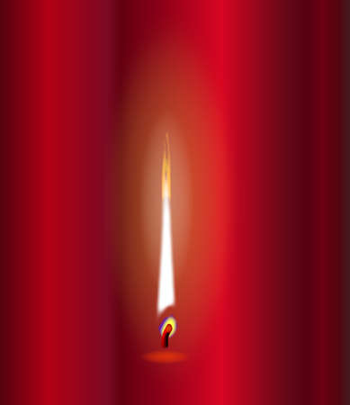 A candle flame flickering against a red background Фото со стока - 86540431