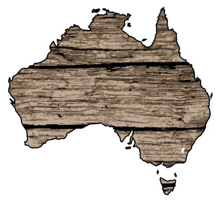 A map of Australia in driftwood over a white background