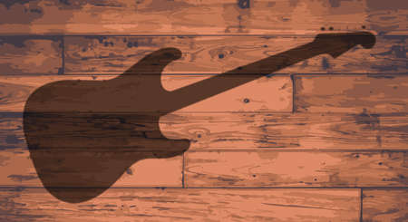 Electric Guitar shape branded onto wooden planks