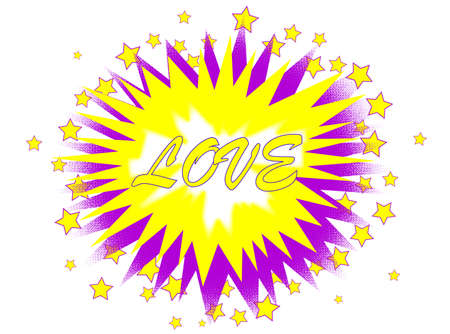 A cartoon style love explosive motif over a white background