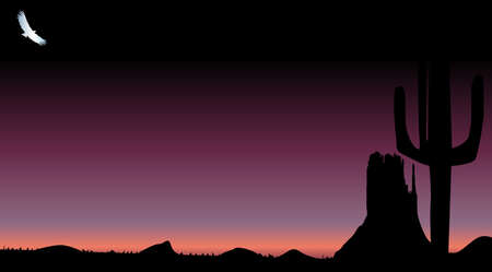 A Texan desert dark sunset scene with cactus