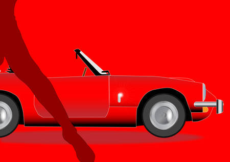 A classic old British sports car in red with a female leg in silhouette Illustration
