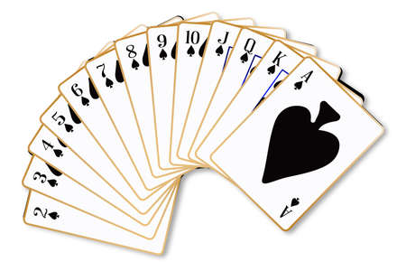 The playing card in the suit of Spades on a white background