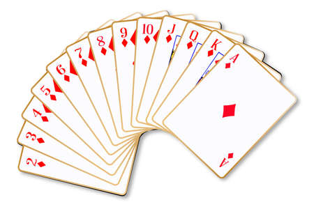 The playing card in the suit of Diamonds over a white background