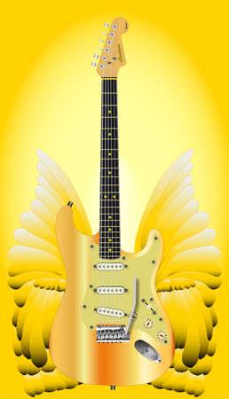 Un grande paio di ali angeliche dorate con una moderna chitarra elettrica Archivio Fotografico - 86540449