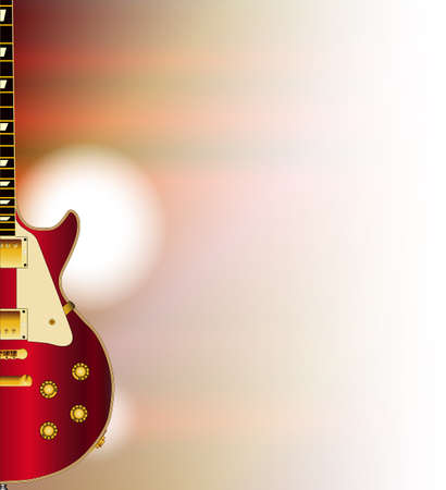 A red solid body electric guitar set on a faded background
