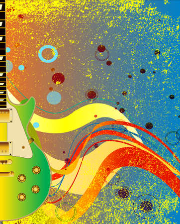 A jazzy solid electric guitar set on an abstract background Ilustração