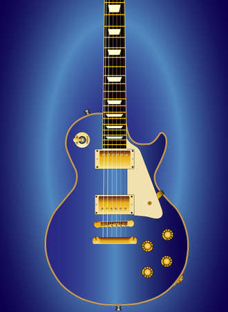 A blue solid electric guitar set on a blue background