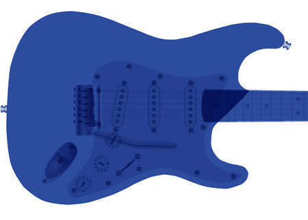 A traditional solid body electric guitar in tones and isolated Illustration