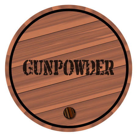 A keg of gunpowder with the name branded on a white background
