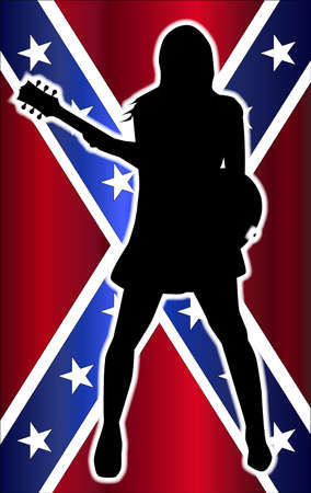 Rebel Flag behind the silhouette ofa girl guitarist. Stock Vector - 87681244