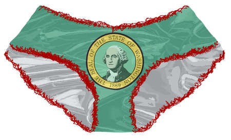 A pair of red ladies undies with lace edge and a Washington State flag