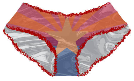 A pair of red ladies undies with lace edge and a Arizona flag