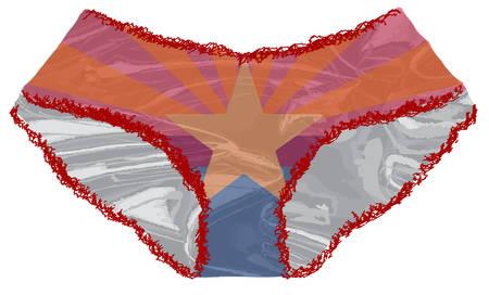 Un paio di signore rosse undies con bordo pizzo e una bandiera Arizona