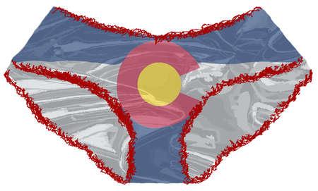 Une paire de sous-vêtements rouges pour femmes avec un bord en dentelle et un drapeau du Colorado Banque d'images - 87681681