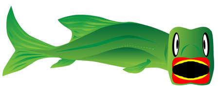 Un gros poisson sur le point de prendre l'illustration vectorielle de crochet isolé