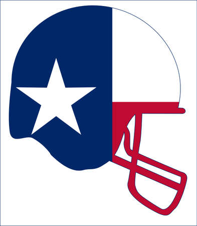 The flag of the USA state of TEXAS below a football helmet silhouette Illustration