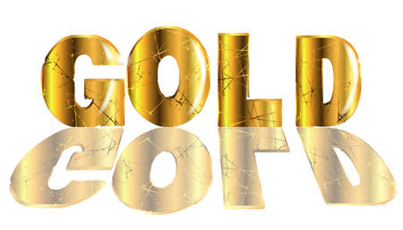 The word gold in gold text isolated over a white backround Illustration