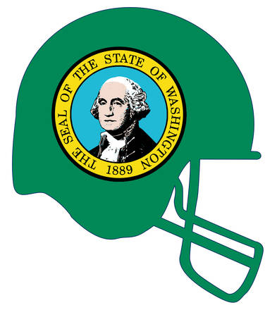 The flag of the USA state of Washington below a football helmet silhouette