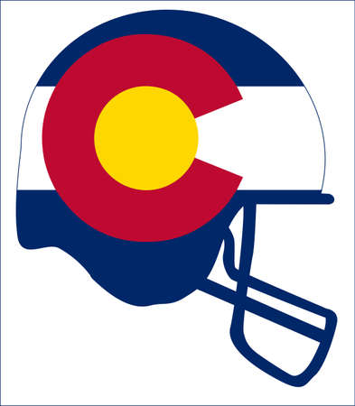 The flag of the USA state of Colorado below a football helmet silhouette Illustration
