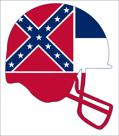 The flag of the USA state of Mississippi below a football helmet silhouette