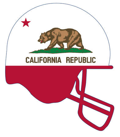 The flag of the USA state of California below a football helmet silhouette