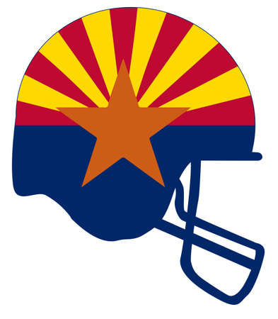 The flag of the USA state of Arizona below a football helmet silhouette Illustration