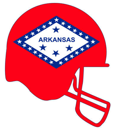 The flag of the USA state of Arkansas below a football helmet silhouette Illustration