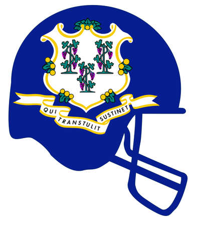 The flag of the USA state of Connecticut below a football helmet silhouette