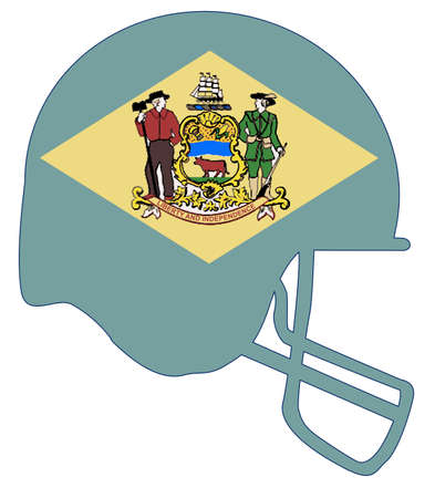 The flag of the USA state of Delaware below a football helmet silhouette