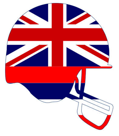 The flag of the USA state of Hawaii below a football helmet silhouette Illustration