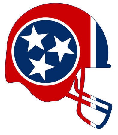 The flag of the USA state of Tennessee below a football helmet silhouette