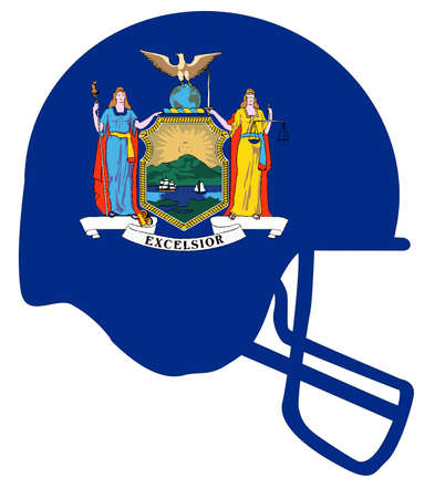 The flag of the USA state of New York below a football helmet silhouette