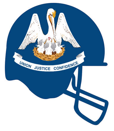 The flag of the USA state of Louisiana below a football helmet silhouette