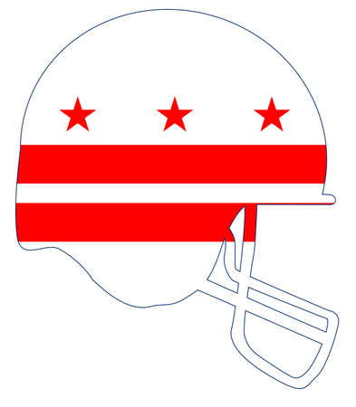 The flag of the Washington DC below a football helmet silhouette Stock Vector - 88261944