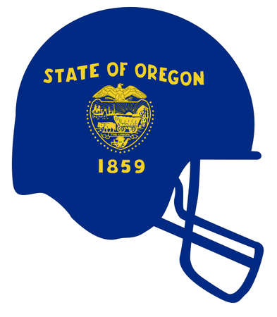 The flag of the USA state of Oregon below a football helmet silhouette Illustration
