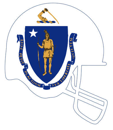 The flag of the USA state of Massachusetts below a football helmet silhouette Illustration