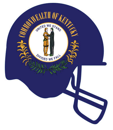 The flag of the USA state of Kentucky below a football helmet silhouette