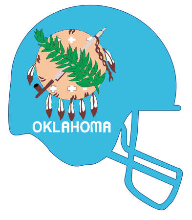 The flag of the state of Oklahoma below a football helmet silhouette
