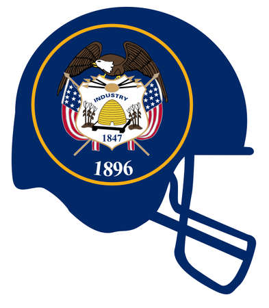 The flag of the state of Utah below a football helmet silhouette