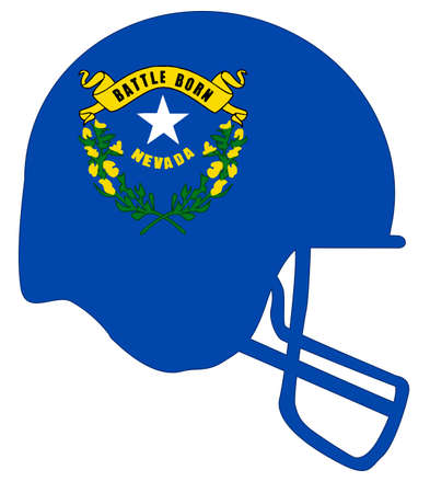 The flag of the state of Nevada below a football helmet silhouette Ilustração
