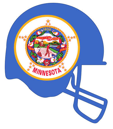 The flag of the state of Minnesota below a football helmet silhouette