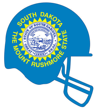The flag of the state of South Dakota below a football helmet silhouette