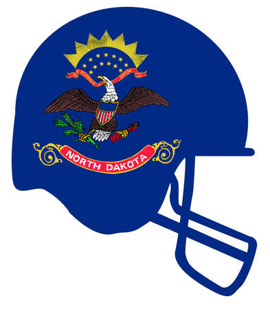 The flag of the state of North Dakota below a football helmet silhouette Illustration
