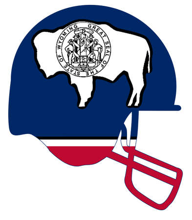 The flag of the state of Wyoming below a football helmet silhouette