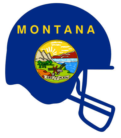The flag of the state of Montana below a football helmet silhouette Illustration