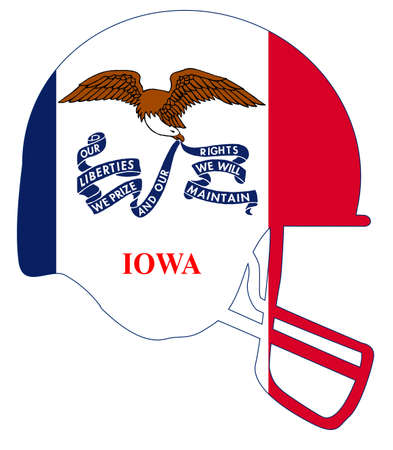 The flag of the state of Iowa below a football helmet silhouette Illustration